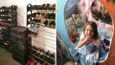 Talentosa abuela transforma pequeño armario de zapatos en un paraíso de Disney para su nieta