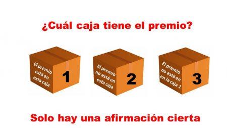 ¿Puede averiguar qué caja contiene el premio si solo una de las afirmaciones es cierta?