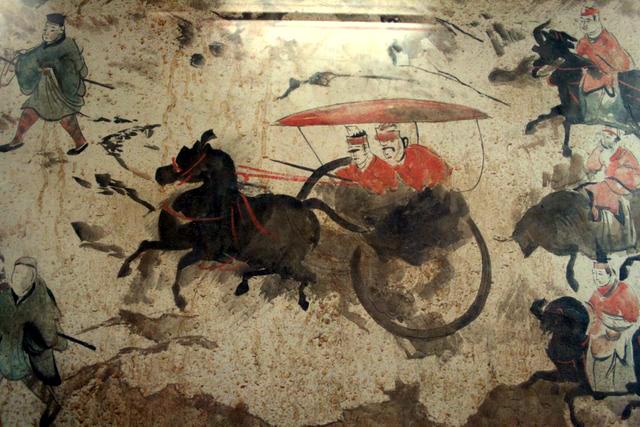 Una sección de un fresco de la dinastía Han del Este de China (25-220 d. C.) de 9 carros, 50 caballos y más de 70 hombres, de una tumba en Luoyang, China, que una vez fue la capital de los Han del Este. (Wikimedia Commons CC BY-SA 4.0 /Gary Lee Todd )