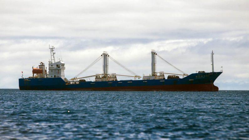 La armada de Ecuador incautó este buque pesquero de bandera china en la reserva marina de Galápagos en 2017 y encarceló a la tripulación tras encontrar 300 toneladas de pescado, en su mayoría tiburones, a bordo. (Foto de Juan Cevallos/AFP/Getty Images)