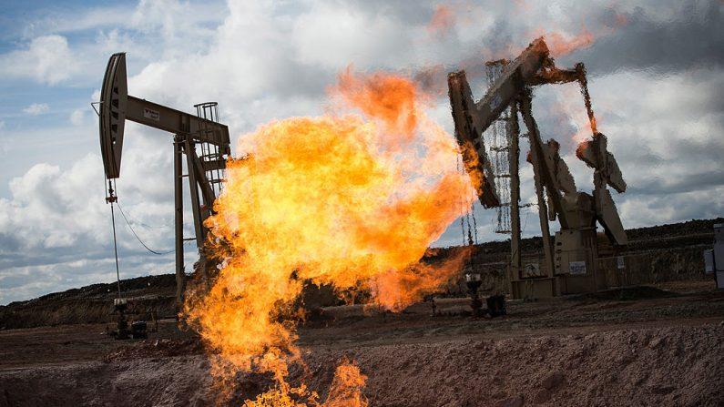 Una llamarada de gas es vista en un pozo de petróleo el 26 de julio de 2013 en las afueras de Williston, Dakota del Norte. (Andrew Burton/Getty Images)