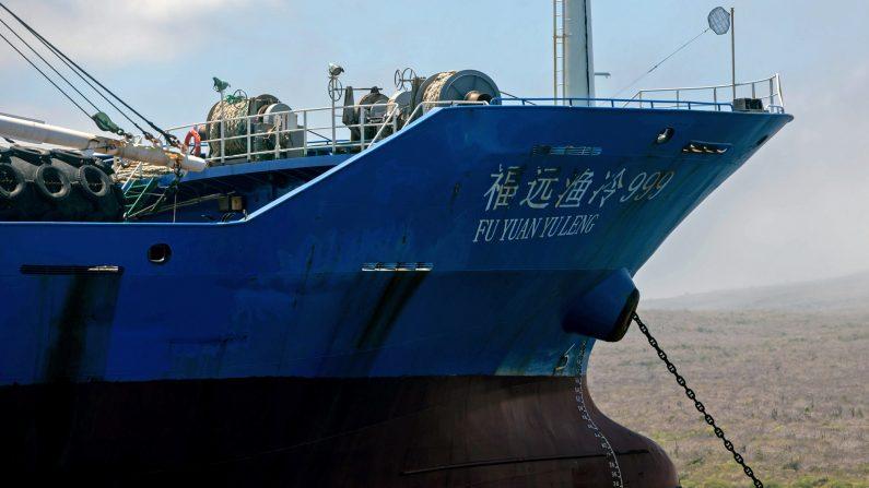 Vista del buque de bandera china confiscado por la Armada de Ecuador en aguas de la reserva marina de Galápagos, el 25 de agosto de 2017.(JUAN CEVALLOS/ AFP vía Getty Images)
