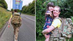 Mayor del ejército camina 700 millas descalzo con el fin de recaudar fondos para su hija enferma