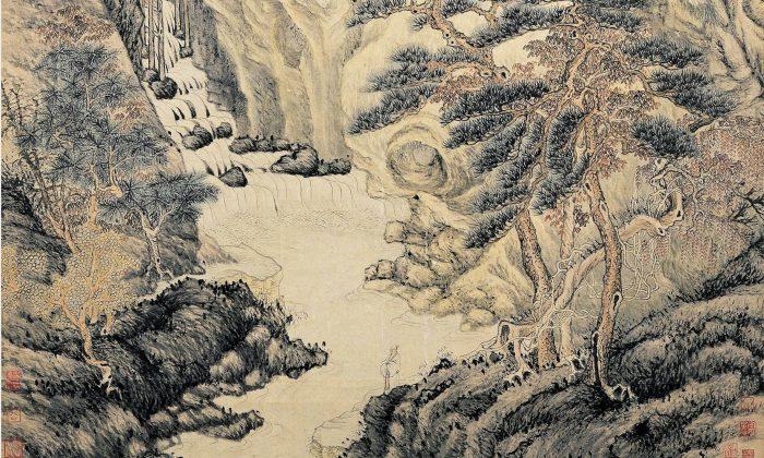 """Un detalle de """"Lofty Mount Lu"""", 1467, de Shen Zhou. Pergamino colgante con tinta y color sobre papel, 76.3 X 38.6 pulgadas (1.94 X 98 centímetros). Museo del Palacio Nacional, Taipei. (Dominio público)"""