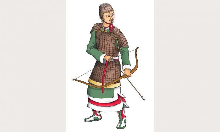 Ilustración de un antiguo arquero chino. (Ilustración del arquero por Sun MIngguo/The Epoch Times)