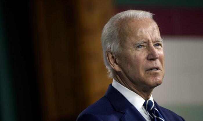 Candidato presidencial demócrata, el ex vicepresidente Joe Biden, habla en un evento en el Colwyck Center en New Castle, Del., el 21 de julio de 2020. (Drew Angerer/Getty Images)