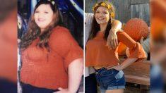 Mujer adicta a la comida rápida recrea foto luego de bajar más de 196 libras