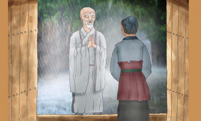 El viejo monje le pidió al sirviente que se refugiara en la mansión. (Ilustración de Sun MIngguo/The Epoch Times)