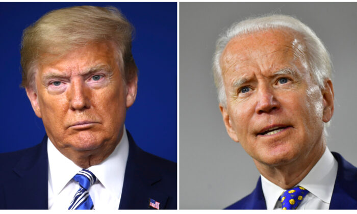El presidente de Estados Unidos Donald Trump en la Casa Blanca en Washington el 19 de abril de 2020. (Tasos Katopodis/Getty Images). El candidato presidencial demócrata, el exvicepresidente Joe Biden en Wilmington, Delaware el 28 de julio de 2020. (Mark Makela/Getty Images)