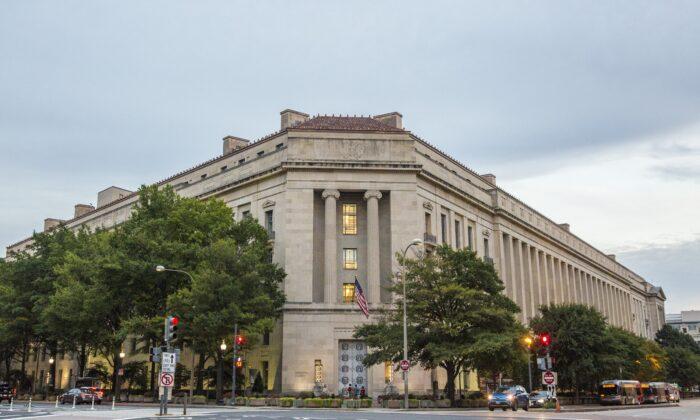 El Departamento de Justicia en Washington, el 22 de septiembre de 2017. (Samira Bouaou/The Epoch Times)