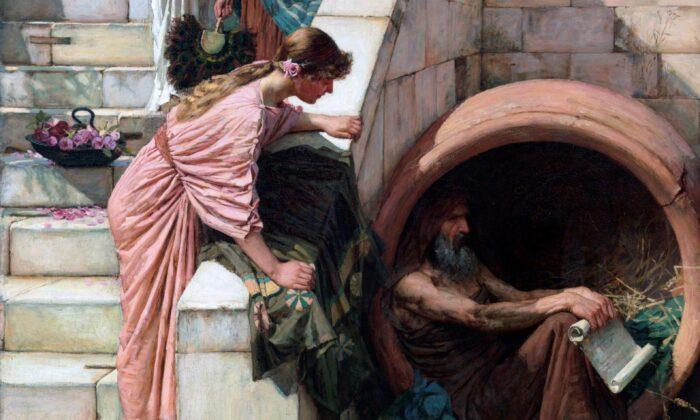 """Un detalle de la obra """"Diógenes"""" (1882) de John William Waterhouse. Óleo sobre lienzo, 82 por 53 pulgadas. Galería de Arte de Nueva Gales del Sur, Sídney, Australia. (Dominio Público)"""