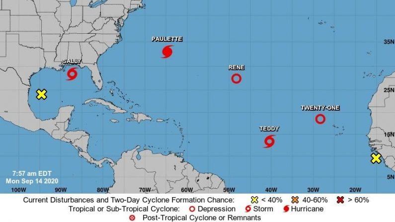 Imagen cedida el 14 de septiembre de 2020 por el Centro Nacional de Huracanes (NHC) de Estados Unidos donde se muestra la localización del huracán Paulette, las tormentas tropicales Sally y Teddy y las depresiones tropicales Rene y la Veintiuno en el océano Atlántico. EFE/NHC