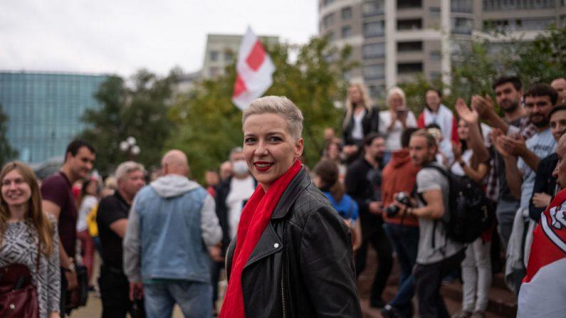La líder de la oposición María Kolésnikova en una manifestación el 23 de agosto de 2020 en Minsk, Bielorrusia. (Foto de Misha Friedman/Getty Images)