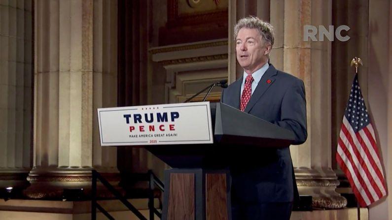 Captura de pantalla de la transmisión en vivo de la Convención Nacional Republicana del 2020, el senador de Estados Unidos Rand Paul (R-KY) se dirige a la convención virtual el 25 de agosto de 2020. (Comité de Arreglos para el Comité Nacional Republicano 2020 a través de Getty Images)