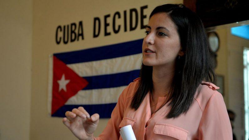 Rosa María Payá, directora ejecutiva de la Fundación para la Democracia Panamericana (FDP) y líder de Cuba Decide, ofrece una conferencia de prensa en su casa de La Habana (Cuba), el 8 de marzo de 2018. (YAMIL LAGE/AFP a través de Getty Images)