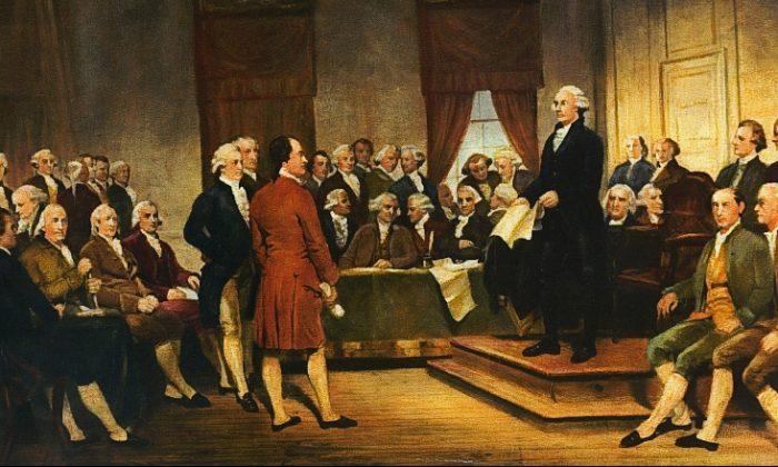 """""""Washington como estadista en la Convención Constitucional"""", un óleo sobre lienzo creado en 1856, por Junius Brutus Stearns. Museo de Bellas Artes de Virginia. (Dominio Público)"""