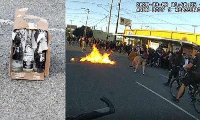 (Izq.) un cóctel Molotov sin detonar recuperado de un motín en Seattle, Washington, el 7 de septiembre de 2020. (Der.) Se ven llamas de un cóctel Molotov que se arrojó a los agentes de policía. (Departamento de Policía de Seattle)