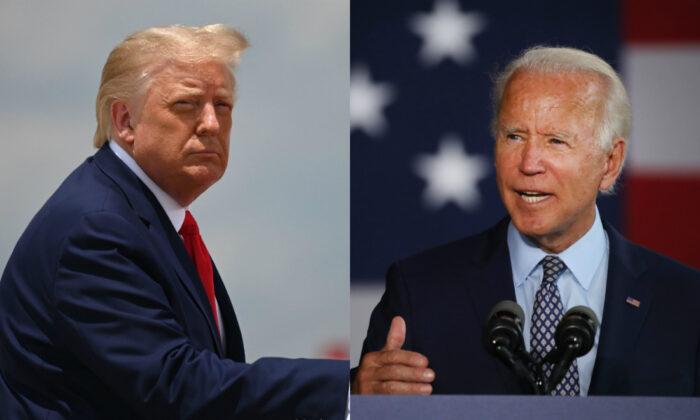 El presidente Donald Trump (izq.) aborda el Air Force One en la base conjunta Andrews, en Maryland, el 15 de julio de 2020. A la derecha, el candidato presidencial demócrata Joe Biden habla en Dunmore, Pensilvania, el 9 de julio de 2020. (Jim Watson/AFP a través de Getty Images; Spencer Platt/Getty Images)