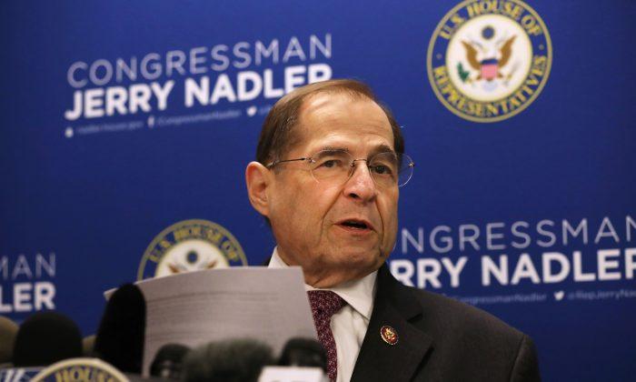 El presidente del Comité Judicial de la Cámara de Representantes, Jerrold Nadler (D-N.Y.), da una conferencia de prensa en la ciudad de Nueva York el 18 de abril de 2019. (Spencer Platt/Getty Images)