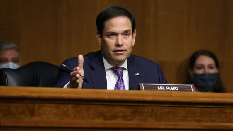 El miembro del Comité de Relaciones Exteriores del Senado, el senador Marco Rubio (R-Fla.) durante una audiencia sobre Venezuela en el edificio de oficinas del Senado Dirksen en el Capitolio en Washington, el 4 de agosto de 2020. (Chip Somodevilla/Getty Images)