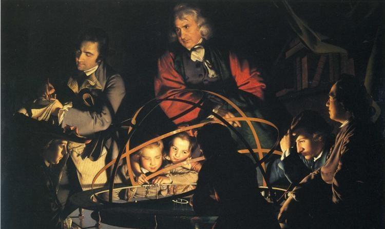 """""""El filósofo dando una conferencias sobre un planetario"""", aprox. en 1776, por Joseph Wright de Derby. Óleo sobre lienzo, 57.9 pulgadas por 80 pulgadas. Museo y Galería de Arte de Derby, Inglaterra. (Dominio público)"""