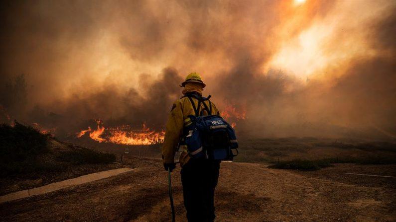 Los bomberos trabajan para controlar el incendio de Silverado cerca de Irvine en el condado de Orange, al sur de Los Ángeles, California (EE.UU.). EFE/EPA/ETIENNE LAURENT