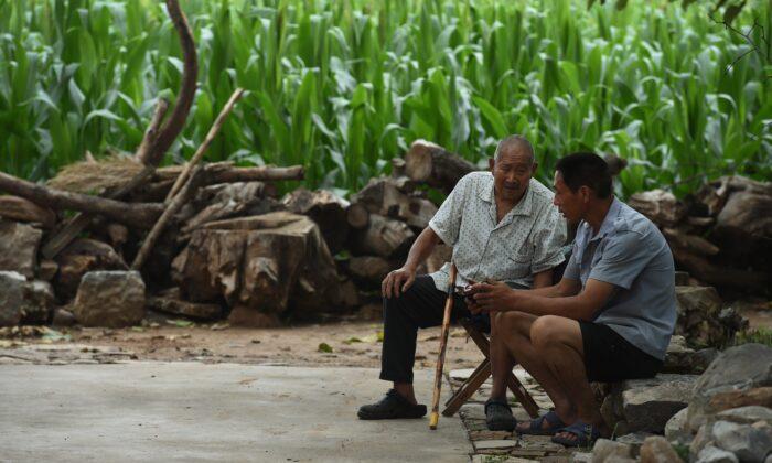 Dos hombres escuchan una radio portátil cerca de un campo de maíz en el pueblo de Weijian, en la provincia china de Henan, el 30 de julio de 2014. El suicidio de los ancianos de las zonas rurales de China sucede a un ritmo cada vez mayor, según un estudio de investigación realizado en China. (Greg Baker/AFP/Getty Images)