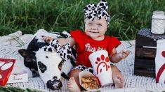 """Bebé y ternera rescatada posan para un linda sesión de fotos temática de """"Chick-fil-A"""""""