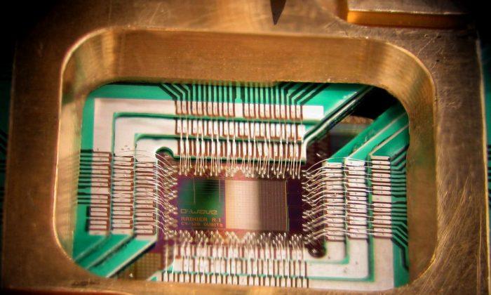 Fotografía de un chip construido por D-Wave Systems Inc. diseñado para operar como un procesador de optimización cuántica adiabática superconductora de 128 qubit, montado en un portamuestras. (D-Wave, CC BY 3.0)