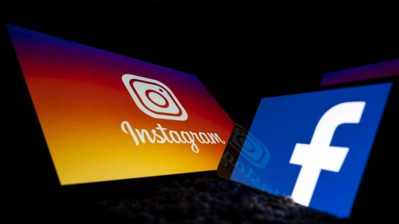 Los logotipos de las redes sociales estadounidenses Facebook e Instagram en las pantallas de una tableta y un teléfono móvil se muestran en Toulouse, suroeste de Francia, el 5 de octubre de 2020. (Lionel Bonaveture/AFP a través de Getty Images)