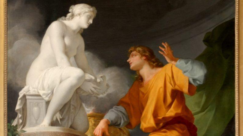 """""""¿Las palabras lanzan un hechizo que crea? Pigmalión, a través de las palabras de oración a una diosa, da vida a su amada estatua"""". Pigmalión rezando a Venus para animar su estatua """", 1786, por Jean-Baptiste Regnault. Palacio de Versalles. ( Dominio publico)""""."""
