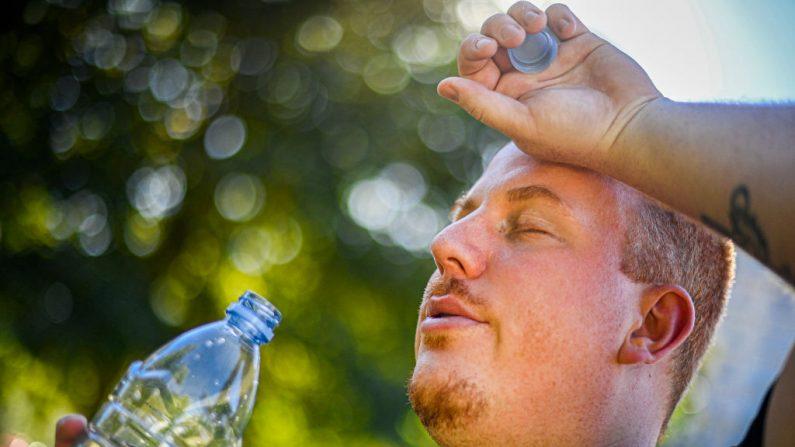 Hombre bebiendo agua en Bruselas, el miércoles 5 de agosto de 2020. Las temperaturas en Bélgica habían subido a niveles récord. (LAURIE DIEFFEMBACQ/BELGA MAG/AFP vía Getty Images)