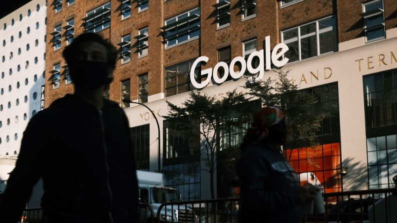 NEW YORK, NEW YORK - OCTOBER 20: Google's offices stand in downtown Manhattan on October 20, 2020 in New York City. Accusing the company of using anticompetitive tactics to illegally monopolize the online search and search advertising markets, the Justice Department and 11 states Tuesday filed an antitrust case against Google. (Photo by Spencer Platt/Getty Images)