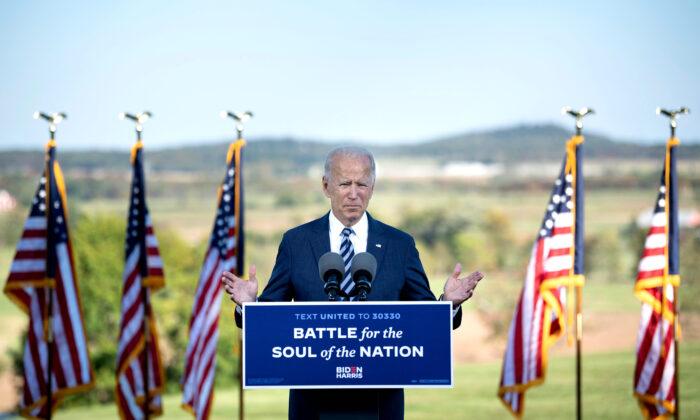 El candidato presidencial demócrata, Joe Biden, habla en Gettysburg, Pensilvania, el 6 de octubre de 2020. (Brendan Smialowski/AFP a través de Getty Images)
