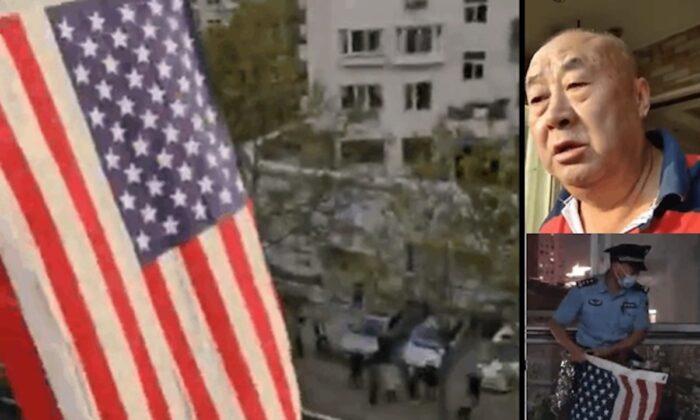 El activista chino, Sui Shuangsheng, colgó las banderas de cinco países democráticos en su casa, en la ciudad de Qingdao, provincia de Shandong, China, el 1 de octubre de 2020. Hace un llamado a la democracia y al régimen chino para que dimita. (Capturas de pantalla de Twitter)