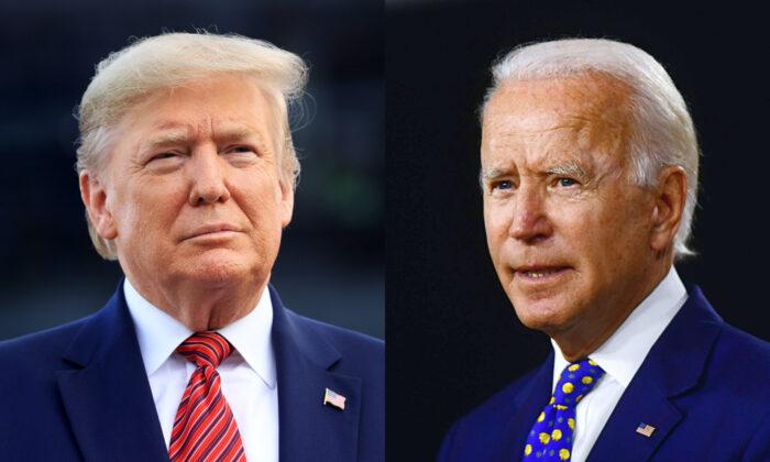 Izquierda: El presidente Donald Trump en Daytona Beach, Florida, el 16 de febrero de 2020 y Derecha: el candidato presidencial demócrata, Joe Biden, en Wilmington, Delaware, el 28 de julio de 2020. (Chris Graythen/Getty Images; Andrew Caballero-Reynolds/AFP vía Getty Images)