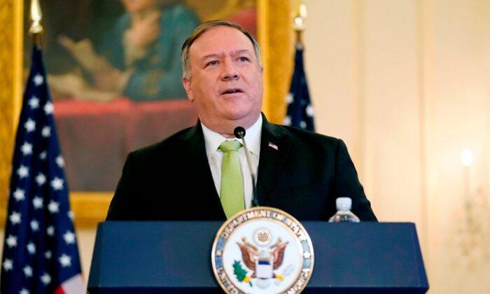 El secretario de Estado de EE.UU. Mike Pompeo habla durante una conferencia de prensa en Washington, el 21 de septiembre de 2020. (Patrick Semansk/POOL/AFP vía Getty Images)