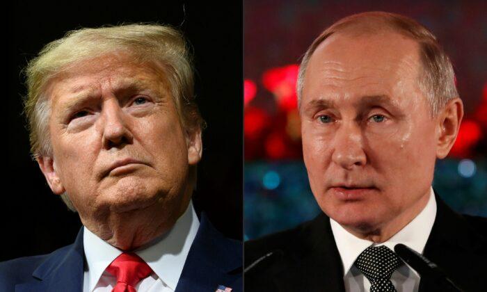 El presidente Donald Trump (izq.) y el presidente ruso Vladimir Putin (der.) en una foto de archivo. (Jim Watson y Emmanuel Dunand/AFP a través de Getty Images)