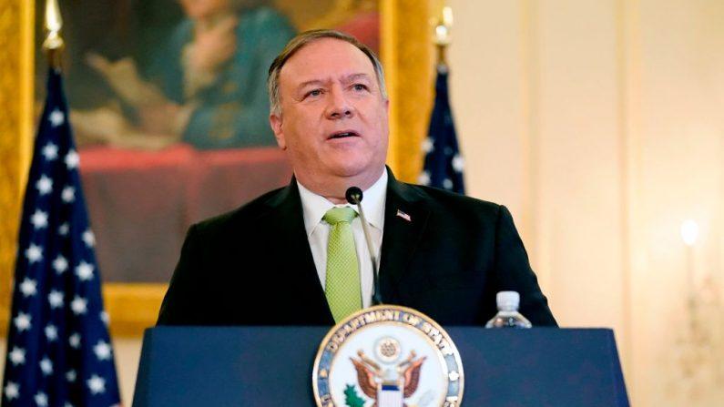 El secretario de Estado Mike Pompeo habla durante una conferencia de prensa en Washington, el 21 de septiembre de 2020. (Patrick Semansk/POOL/AFP vía Getty Images)