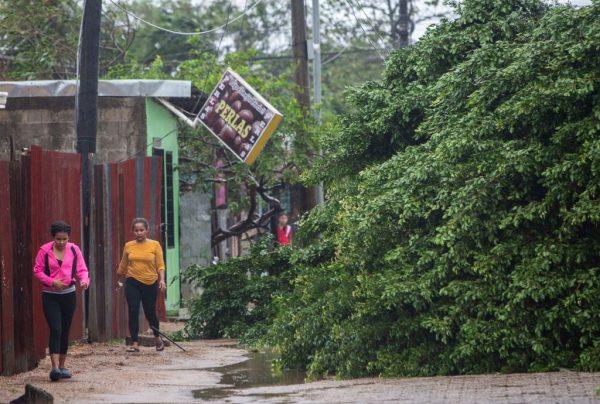 Mujeres caminan junto a árboles caídos mientras el huracán Eta toca tierra en Bilwi, Puerto Cabezas, Nicaragua, el 3 de noviembre de 2020. (Foto de INTI OCON / AFP a través de Getty Images)