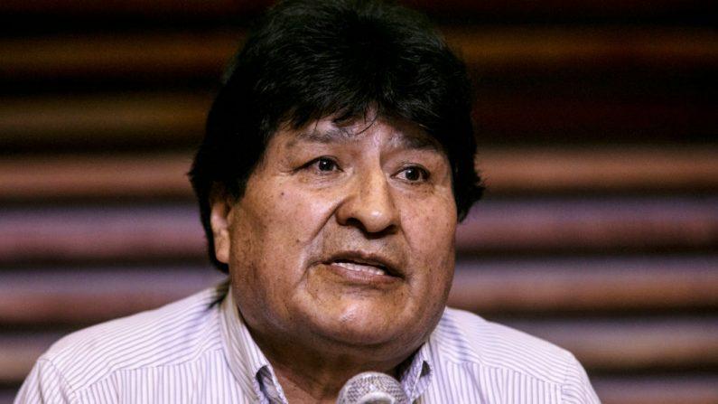 El expresidente boliviano Evo Morales durante una conferencia de prensa en el Hotel Quagliaro el 7 de noviembre de 2020 en Buenos Aires, Argentina. (Ricardo Ceppi/Getty Images)