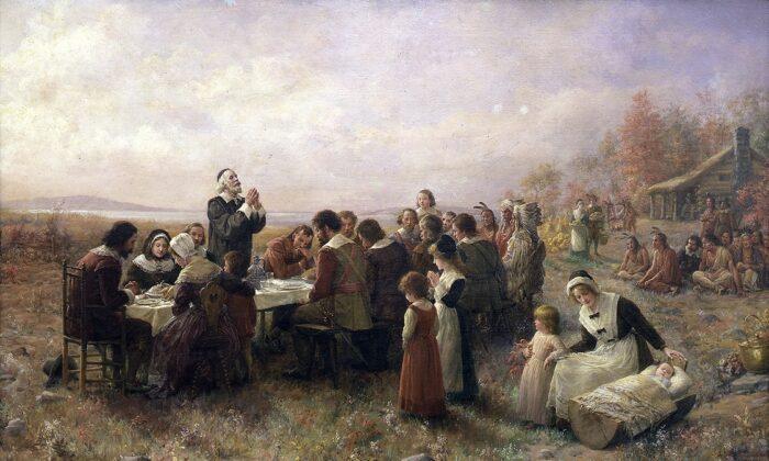 """""""El primer Día de Acción de Gracias en Plymouth"""" por Jennie A. Brownscombe, 1914. (Dominio público)"""