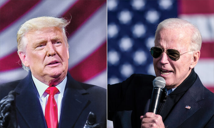 (Izquierda) El presidente Donald Trump en un mitin en Montoursville, Pensilvania, el 31 de octubre de 2020. (Derecha) El candidato presidencial demócrata Joe Biden durante un mitin de campaña en Flint, Michigan, el 31 de octubre de 2020. (GettyImages)