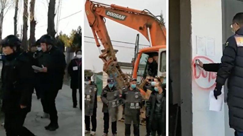 Captura de pantalla de escenas de demolición forzada en Xiaotangshan, Beijing en noviembre de 2020. (Cortesía de los entrevistados)