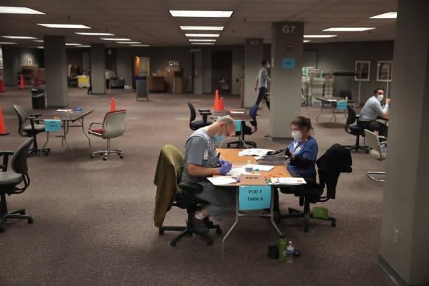 Los funcionarios electorales cuentan los votos ausentes el 4 de noviembre de 2020 en Milwaukee, Wisconsin. El conteo de Milwaukee terminó alrededor de las 3 a. M. (Foto de Scott Olson / Getty Images)