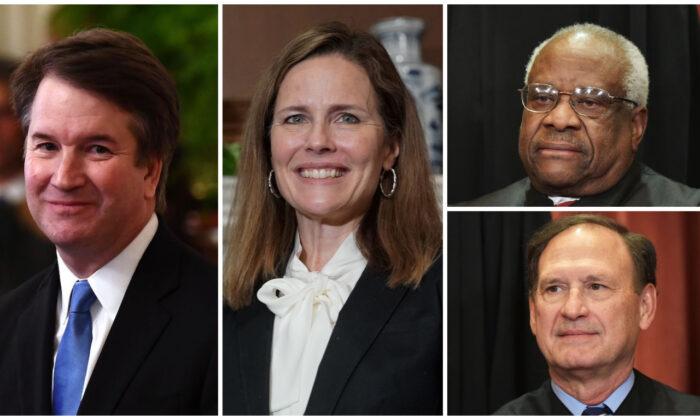 Los jueces de la Corte Suprema (izq.-der.) Brett Kavanaugh, Amy Coney Barrett, Clarence Thomas, Samuel Alito. (Crédito de izquierda a derecha: Brendan Smialowski, Greg Nash, Mandel Ngan/AFP a través de Getty Images)