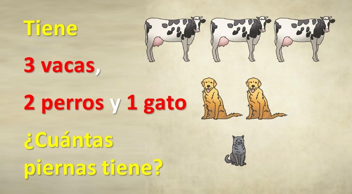 ¿Puede resolver este acertijo de las piernas? Tiene 3 vacas, 2 perros y 1 gato. ¿Cuántas piernas tiene?