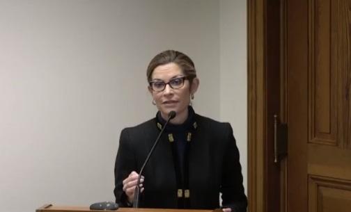 La abogada Jackie Pick en la audiencia de la Legislatura del Estado de Georgia (NTD)