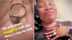 Reemplaza el anillo de bodas de 20 dólares de su esposa por el de sus sueños 13 años después
