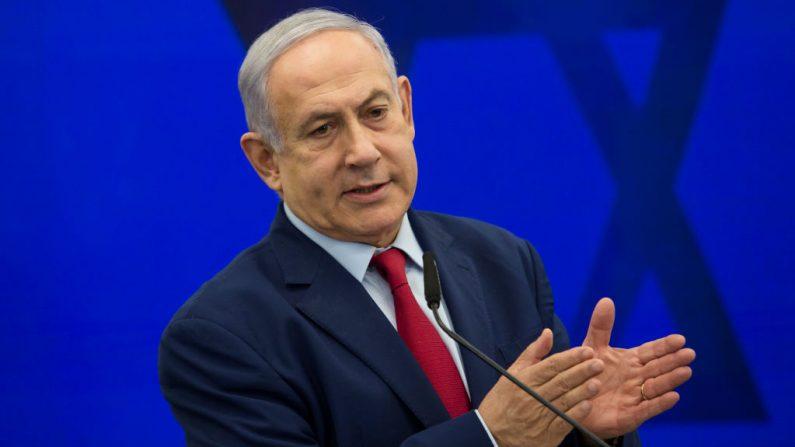 El primer ministro israelí, Benjamín Netanyahu, da un anuncio el 10 de septiembre de 2019 en Ramat Gan, Israel. (Foto de Amir Levy / Getty Images)
